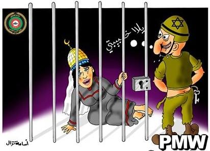 """Vignetta pubblicata su internet dalle Forze di Sicurezza Nazionale dell'Autorità Palestinese con il titolo: """"Al-Aqsa viene stuprata"""""""