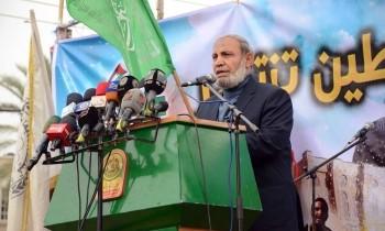 Mahmoud al-Zahar alle celebrazioni per il 27esimo anniversario di Hamas