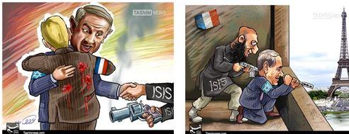 Vignette pubblicate sul sito Tasnim (Iran, 17.1.15): Israele e ISIS dietro agli attentati di Parigi