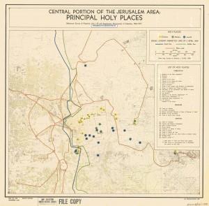 """Mappa del centro di Gerusalemme con le linee armistiziali del 1949 e dettagli sulle zone rimaste """"terra di nessuno"""" tra Israele e Regno di Giordania. Le linee d'armistizio si basavano sulle linee di cessate fuoco del novembre 1948. L'accordo d'armistizio con la Giordania affermava esplicitamente che le linee tracciate non costituivano confini internazionali concordati de jure (cliccare per ingrandire)"""