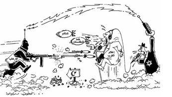 """Vignetta pubblicata da Al-Watan (Oman, 13.1.165): """"L'ebreo"""" controlla sia le organizzazioni terroristiche che i mass-media occidentali, mettendoli uno contro l'altro. Anche di queste calunnie si alimenta l'istigazione all'odio contro Israele ed ebrei"""
