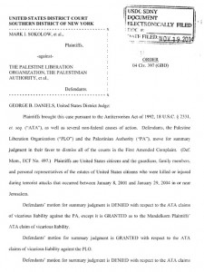 La sentenza della corte federale degli Stati Uniti che ha condannato la dirigenza palestinese per le sue responsabilità nelle stragi terroristiche in Israele