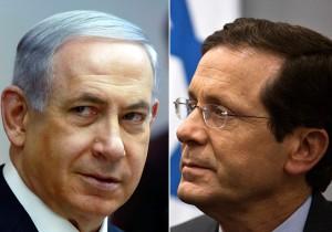 Il primo ministro Benjamin Netanyahu (Likud) e il leader dell'opposizione Isaac Herzog (Unione Sionista)
