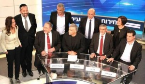 Politici israeliani al dibattito elettorale in tv dello scorso 26 febbraio
