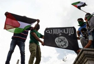 Bandiere palestinese e dell'ISIS