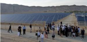 5 giugno 2011, deserto del Negev: inaugurazione del primo campo solare commerciale d'Israele, nel kibbutz Ketura