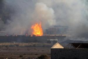 Una delle pochissime immagini del raid sul campo profughi di Mazraq, Yemen settentrionale