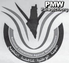 Sul logo del Comitato contro la normalizzazione, la consueta mappa del nazionalismo palestinese: Israele è cancellato dalla carta geografica