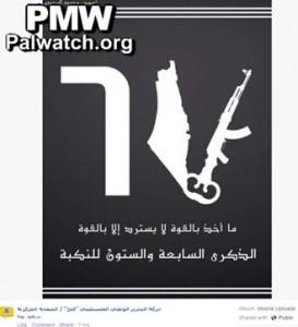 """Nakba 2015: le cifre arabe 67 (gli anni dalla nascita di Israele) si trasformano in una chiave (simboo del ritorno), un mitra e la mappa della """"Palestina"""" da cui Israele è cancellato"""