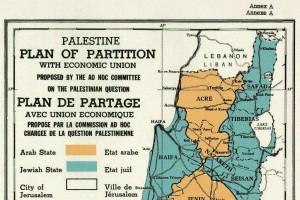 """Un particolare della mappa della spartizione del mandato Britannico allegata alla Risoluzione Onu n. 181 (1947): nella legenda, come nel testo della risoluzione, le locuzione """"Jewish State"""" (stato ebraico)"""