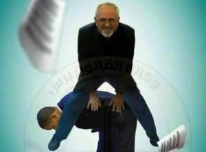 Il ministro degli esteri iraniano Zarif e il presidente Usa Barack Obama nel fotomontaggio di un'agenzia di stampa irachena