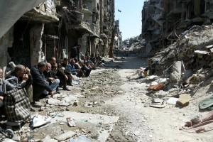 Il campo palestinese di Yarmouk, alla periferia sud di Damasco