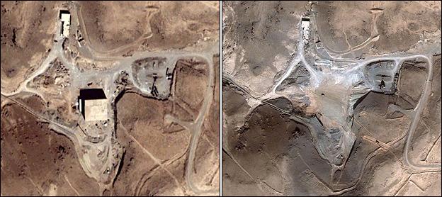 Il reattore nucleare siriano di Al Kibar in costruzione nel deserto di Dair Alzour, prima e dopo il raid del 2007