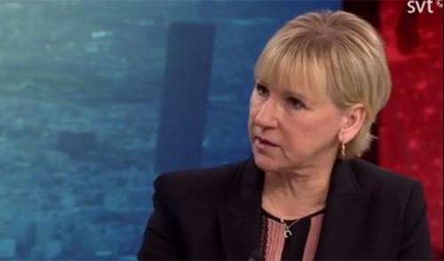 La ministra degli esteri svedese Margot Wallstrom intervistata da SVT2