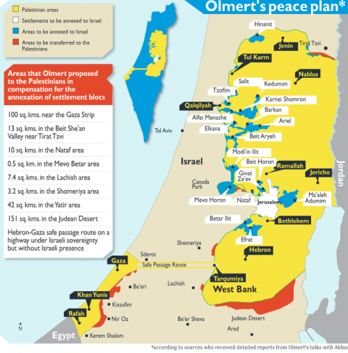 Lo stato palestinese offerto da Ehud Olmert e rifiutato da Abu Mazen nel 2008 (clicca per ingrandire)