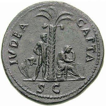 """Moneta romana del I sec e.v. con la scritta """"Judaea capta"""" (""""La Giudea è conquista"""")"""