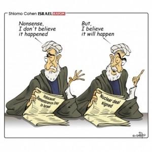 """Olocausto: """"Sciocchezze, non credo che sia avvenuto... Ma credo che avverrà"""". (vignetta di Shlomo Cohen su Israel HaYom)"""