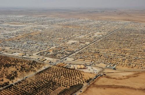 Il campo di profughi siriani Zaatari, nella zona della città giordana di Mafraq, a 8 km dal confine con la Siria.