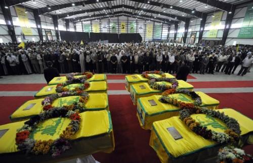 Funerali di miliziani Hezbollah caduti in Siria