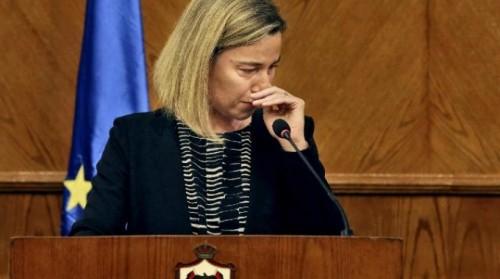 Le lacrime del rappresentante della politica estera dell'Unione Europea, Federica Mogherini, parlando martedì ad Amman degli attentati di Bruxelles