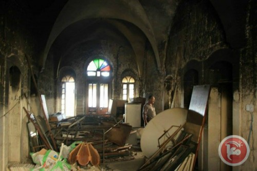 La Chiesa St. Charbel a Betlemme, bruciata nel settembre 2015