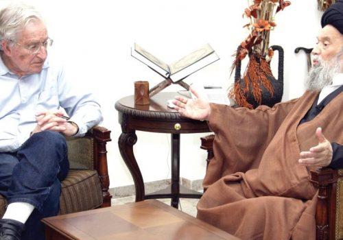 Noam Chomsky, capofila degli intellettuali liberal americani ferocemente critici verso Israele, incontra nel 2010 a Beirut il mentore di Hezbollah, ayatollah Mohammed Hussein Fadlallah