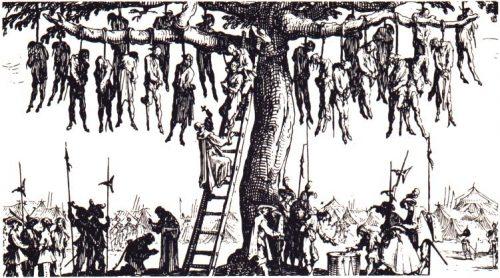"Esecuzioni di massa durante la Guerra dei Trent'anni (Jacques Callot, ""Les Grandes Misères de la guerre"", 1633)"