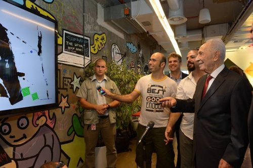 Luglio 2016: Peres all'inaugurazione dei lavori per il nuovo Innovation Center, presso il Centro Peres per la Pace a Jaffa-Tel Aviv